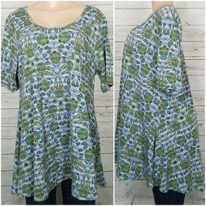 Lularoe Size XL Irma Top Shirt Green Gray Tunic
